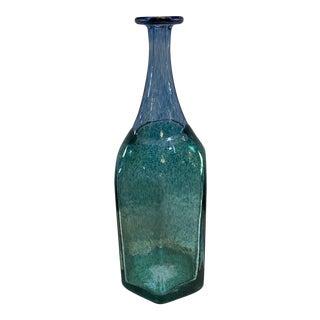 Kosta Boda Sweden Green and Blue Glass Bottle Vase For Sale