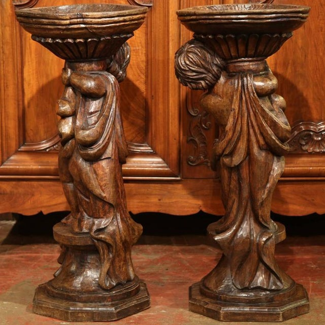 18th Century French Hand-Carved Walnut Jardinieres With Cherubs - A Pair For Sale - Image 9 of 9