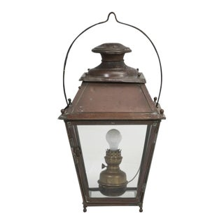 Antique French Hanging Copper Lantern For Sale