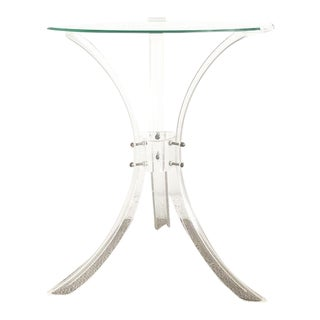 Mid-Century Vintage Lucite and Glass Side Table For Sale