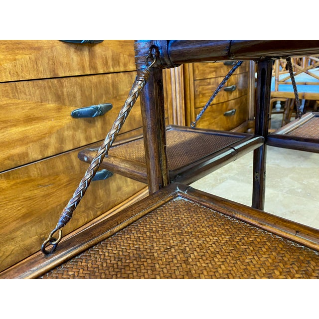 Asian Rattan End Table With Drop Shelves For Sale - Image 4 of 12
