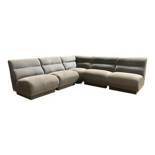 Vintage Velvet Modular Sectional by Selig For Sale
