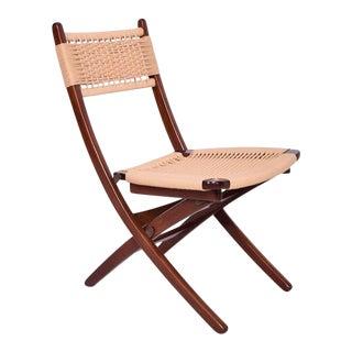 Mid-Century Danish Modern Rope Folding Chair For Sale