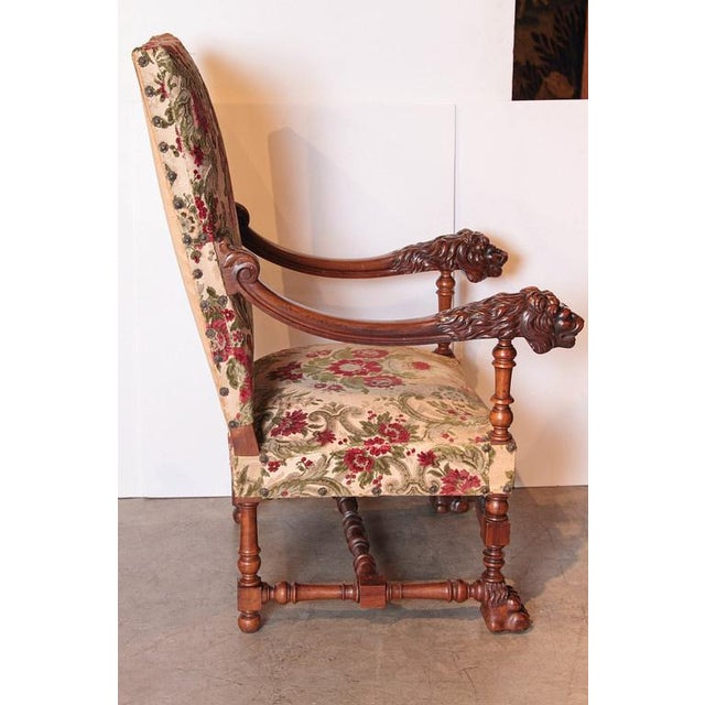 1950s Pair of Antique Louis XIV Style Walnut Wood Armchairs from France For Sale - Image 5 of 8