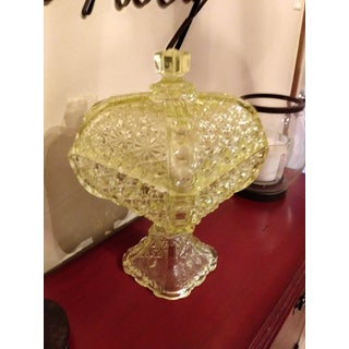 Late 19th Century Uranium Vasoline Glass Compote With Lid Preview