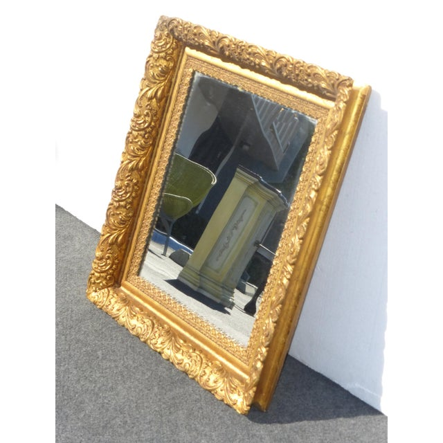 Vintage Antique Wall Mantle MIRROR Decorative Gold Gilt Ornate Square Frame Gorgeous Mirror in Good Condition, with wear...