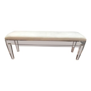 Custom Acrylic Bench Mid-Century Modern Robins Egg Blue Velvet Upholstery For Sale