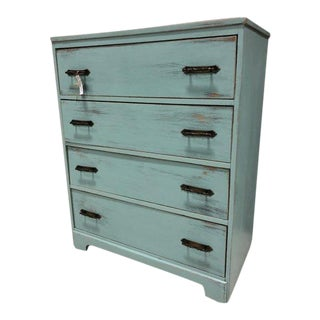 Vintage Blue Painted 4 Drawer Highboy Chest