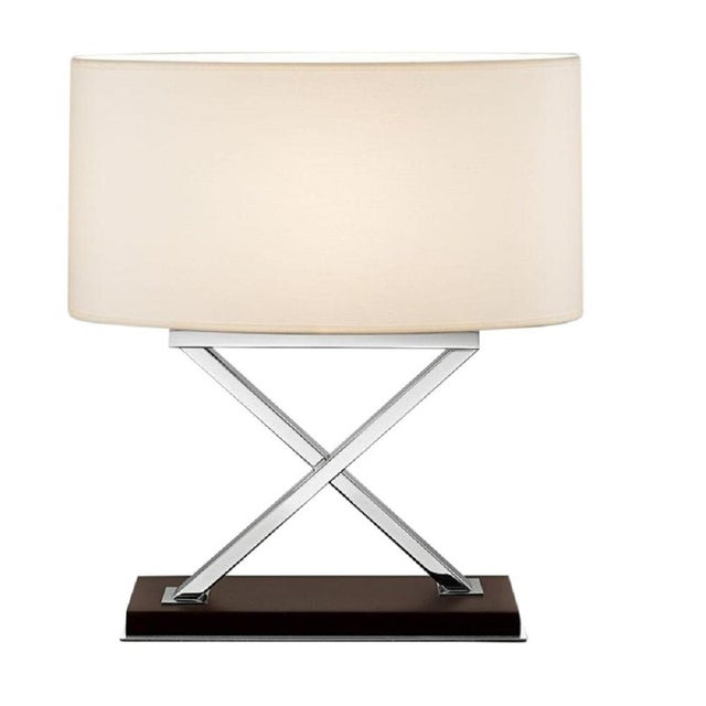 Art Deco Polished Chrome Table Lamp on Wood For Sale - Image 3 of 3