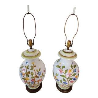 1970s Marbro Italian Ceramic Ginger Jar Lamps - a Pair For Sale