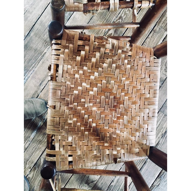 Early 19th Century 1820s Primitive Woven Seat Ladder-Back Chairs - Set of 4 For Sale - Image 5 of 7