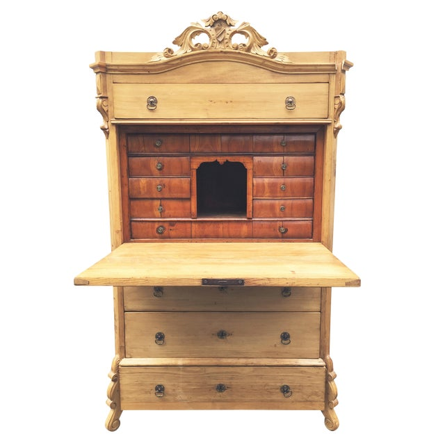 Swedish Pine Secrétaire à Abattant Desk C. 1860 For Sale