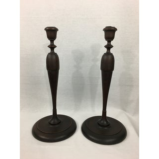 Early 20th Century Americana Turned Wood Candlesticks - a Pair Preview