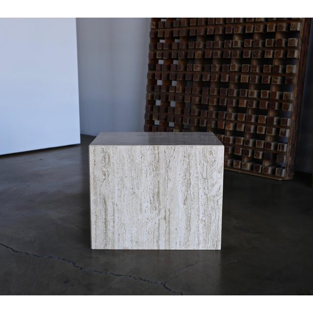 Mid-Century Modern 1975 Mid-Century Modern Travertine Pedestal or Side Table For Sale - Image 3 of 13