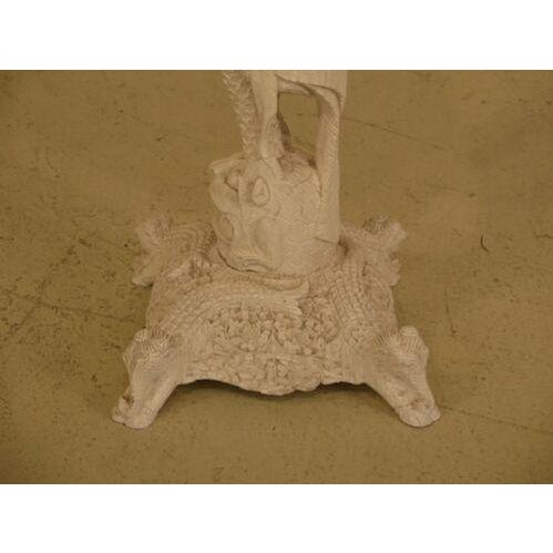 White 1950s Chinese Highly Carved Detailed White Painted Occasional Table For Sale - Image 8 of 9