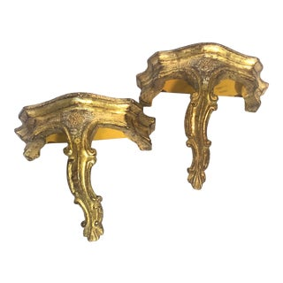Vintage Italian Giltwood Decorative Wall Brackets - a Pair For Sale