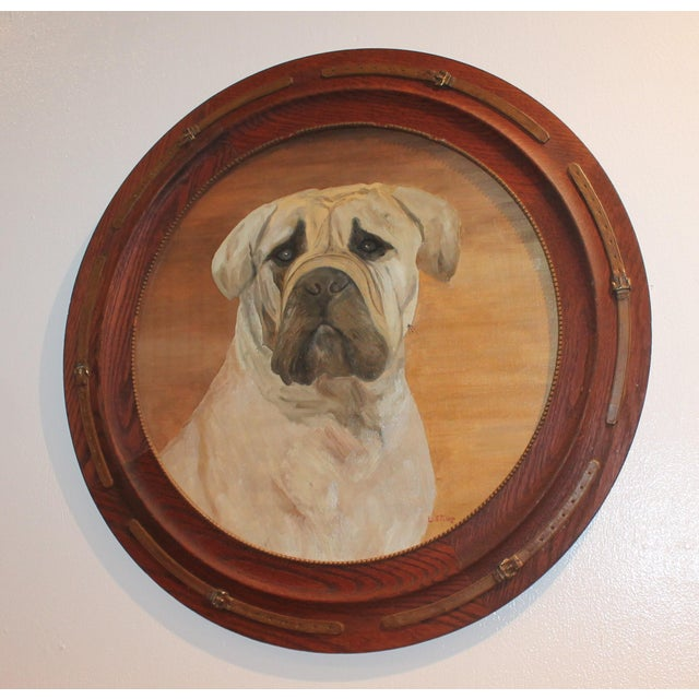 Americana Monumental 19th Century Signed L. Stowe Oil Painting of Dog For Sale - Image 3 of 7