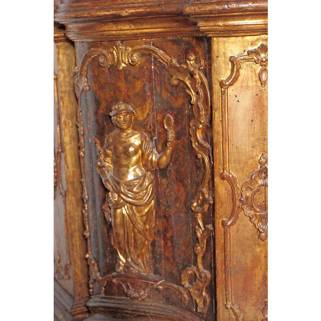 Gold 17th Century Venetian Vestiary Gilt Cabinet With Faux Marble Top For Sale - Image 8 of 13