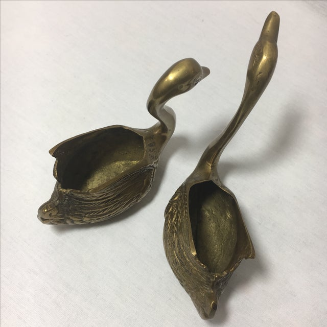 Brass Swan Containers - Pair - Image 5 of 6