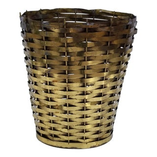 1960s Hollywood Regency Woven Brass Basket