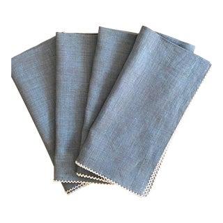 Hem-Stitched Heather Blue Linen Napkins With Crewel Edging - Set of 4 For Sale