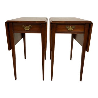 20th Century Traditional Henkel Harris Pembroke Side Tables - a Pair For Sale