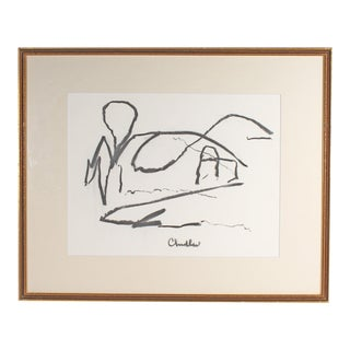 Paul Chidlaw Signed Abstract Landscape Charcoal Drawing For Sale