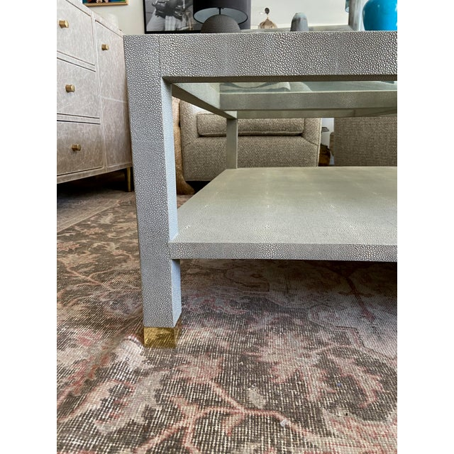 2010s Made Goods Large Square Faux Shagreen Coffee Table For Sale - Image 5 of 8