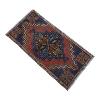 Distressed Low Pile Turkish Yastik Petite Rug Hand Knotted Faded Mat - 18'' X 36'' For Sale