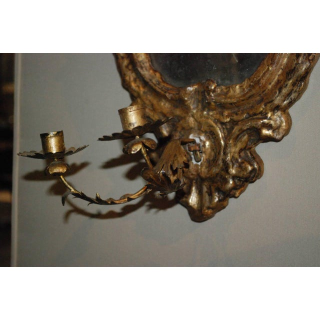 Pair of Venetian Gilted Mirrored Sconces For Sale - Image 4 of 7
