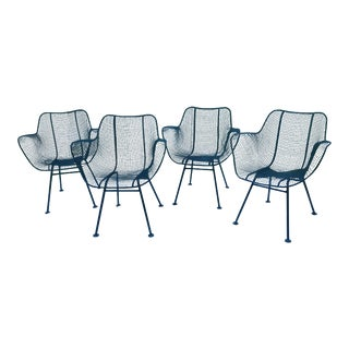 Russell Woodard Sculptura Wrought Iron Chairs- Set of 4 For Sale