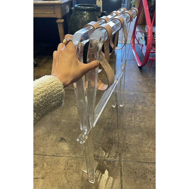 1980s Lucite & Leather Folding Luggage Table For Sale - Image 5 of 9
