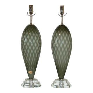 Vintage Murano Glass Teardrop Lamps Grey For Sale