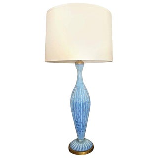 Murano Barbini Blue Glass Bubbles and Ribbed Table Lamp