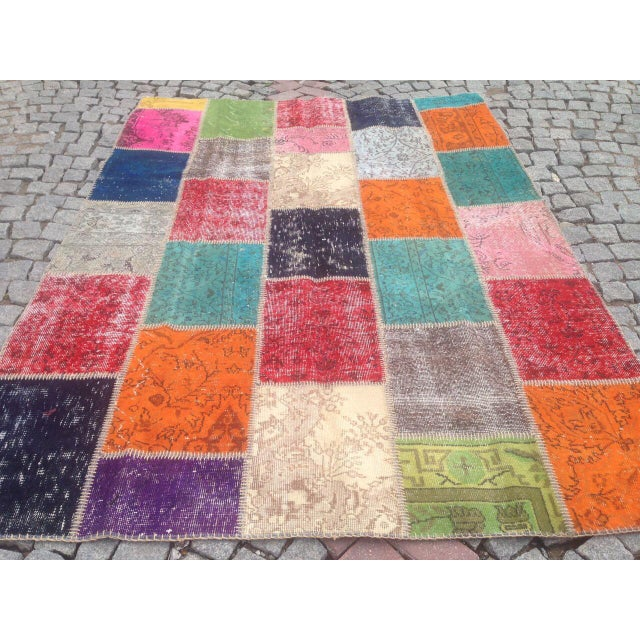Anatolian Turkish Patchwork Rug - 5′9″ × 8′ For Sale - Image 5 of 6