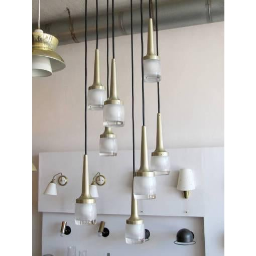 Eight Hanging Light Brass Chandelier by Staff of Germany For Sale In Los Angeles - Image 6 of 10