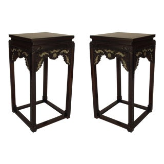 Pair of Asian Chinese Hardwood Pedestal Stands
