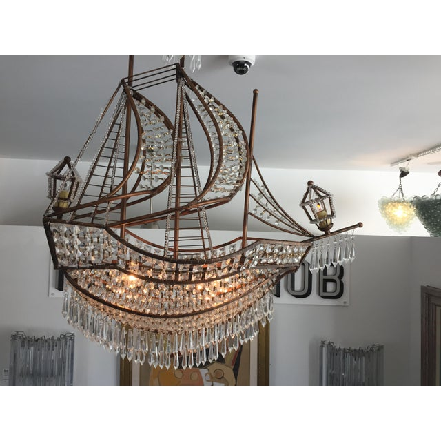 1990s Spanish Galleon Ship Crystal Chandelier, Italy 1990s For Sale - Image 5 of 13
