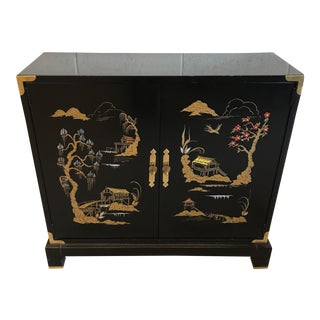 Asian Chinoiserie Style Black Lacquered Cabinet