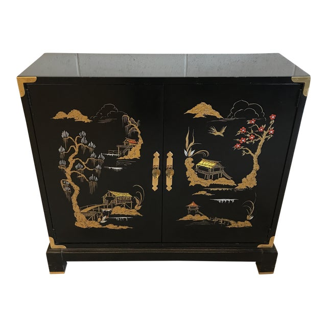 Asian Chinoiserie Style Black Lacquered Cabinet - Image 1 of 9