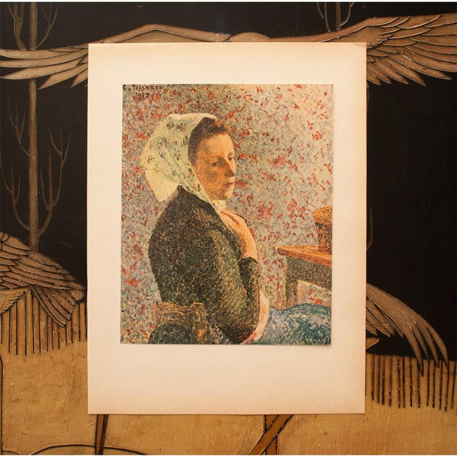 "French 1930s Camille Pissarro, Rare Original ""Woman With Green Scarf"" Lithograph For Sale - Image 3 of 8"