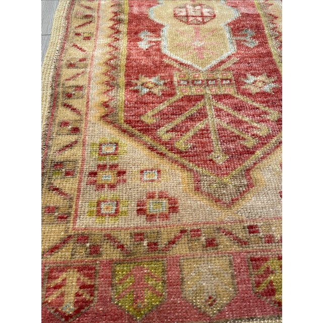 Thick wool hand knit vintage area rug with warm red and gold tones. Geometric pattern has a royal character. Last picture...