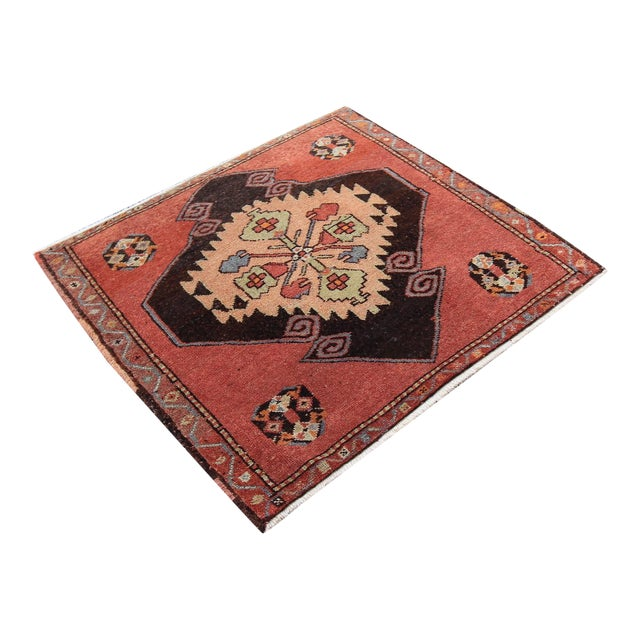 Mid-20th C. Vintage Antique Tribal Oushak Hand Knotted Turkish Rug - 2'5 X 2'4 - Image 1 of 5