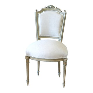 Early 20th Century Vintage Painted Louis XVI Vanity Chair For Sale