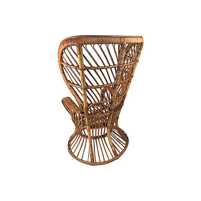Lio Carminati Rattan Wingback Chair by Lio Carminati For Sale - Image 4 of 12