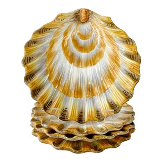 Italian Majolica Salad Plates Shell Shape Set of 4 For Sale