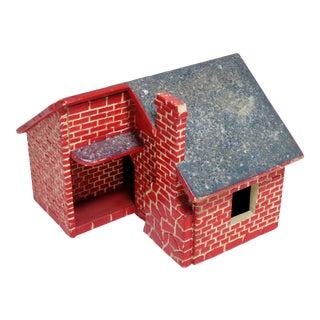 Vintage American Folk Art Brick Cottage Wood Bird House For Sale