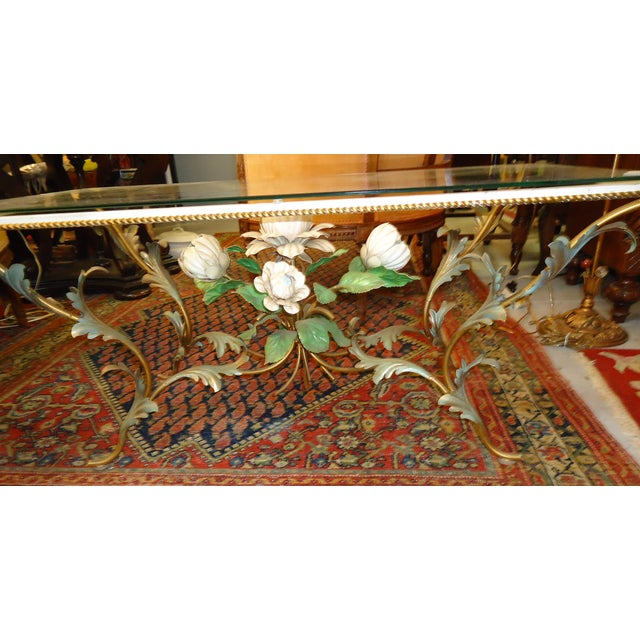 Iron & Glass Italian Tole Painted Coffee Table - Image 4 of 5