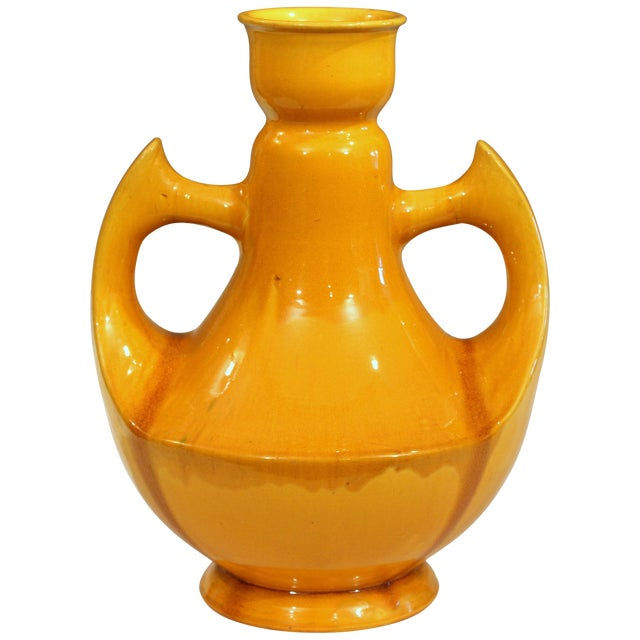 Large Awaji Art Deco Studio Pottery Japanese Wing Handled Golden Yellow Vase For Sale