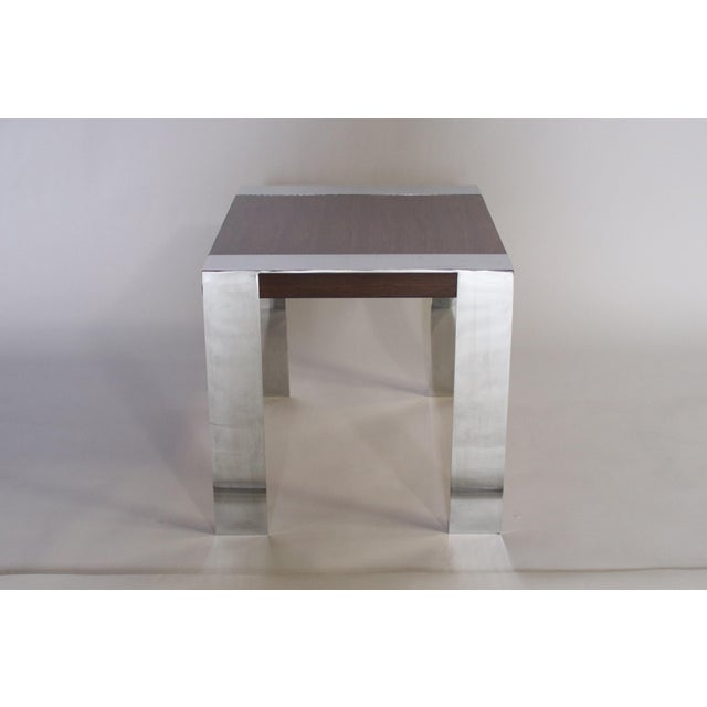 Mid-Century Modern 1970s Milo Baughman Rosewood and Chrome Side Table For Sale - Image 3 of 8